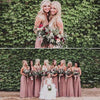 Elegant Chiffon Spaghetti Straps V Neck Bridesmaid Dresses Long Bridesmaid Gowns