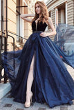 Elegant Deep V Neck Tulle Long Prom Dress With Beading Navy Blue Evening Gowns