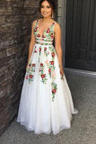 Elegant Ivory V Neck Lace Prom Dresses Backless Pockets Wedding Dresses with Flowers
