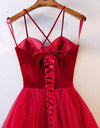 Elegant Spaghetti Straps Tulle Lace up Red Sweetheart Prom Dresses Tulle Formal Dresses