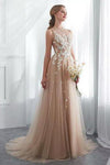 Elegant Tulle Sleeveless Prom Dresses Long Lace Appliques High Neck Evening Gowns