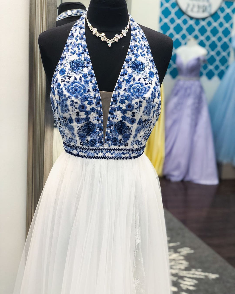 Elegant V Neck Halter White and Blue Embroidery Long Prom Dress with Slit Formal Dress