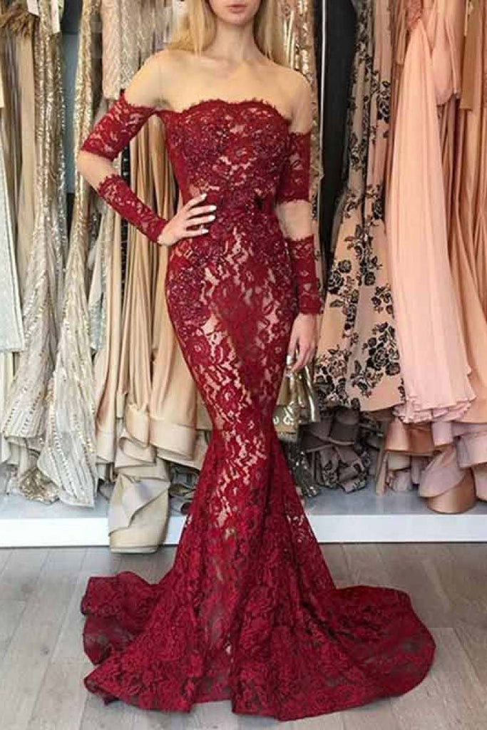 Mermaid Long Sleeves Dark Red Off the Shoulder Lace Prom Dresses with Train
