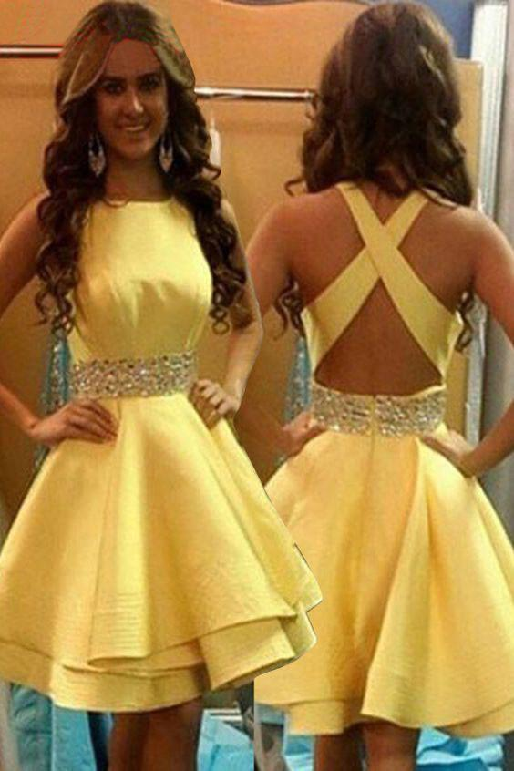 Elegant Jewel Above-knee Criss-Cross Straps Satin Yellow Homecoming Dresses with Beads