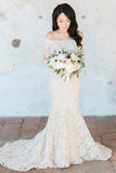 Gorgeous Off the Shoulder White Lace Long Sleeves Mermaid Wedding Dress