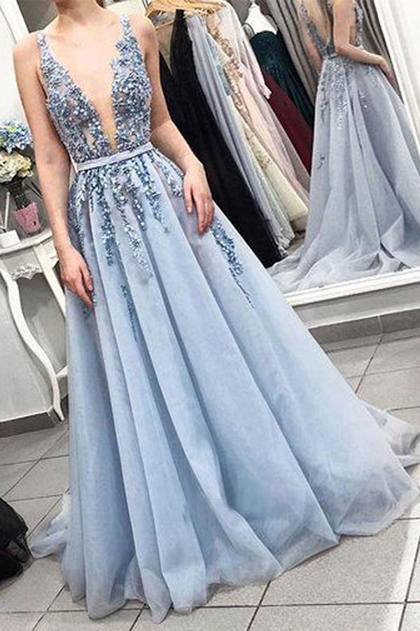 Delicate Sleeveless V Neck Backless Light Blue with Lace Appliques Long Prom Dresses