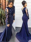 Mermaid Lace Scoop Navy Blue Beads High Neck Long Sleeve Plus Size Prom Dresses