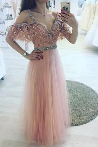 High Fashion A-Line V-Neck Off Shoulder Blush Pink Long Tulle Prom Dresses with Beads
