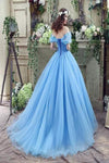 Elegant Ball Gown Off the Shoulder Blue Long Lace up Sweetheart Tulle Prom Dresses
