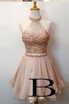 Cute Round Neck Pink Tulle Short Prom/Homecoming Dress with Beading