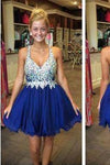 Royal Blue Cute Short Tulle Homecoming Dresses With Beading