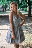 Gray V Neck Short Prom Dresses Straps Above Knee Homecoming Dress with Appliques
