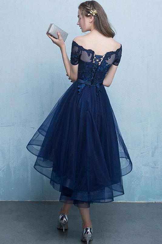 Dark Blue Lace Tulle Short Sleeve High Low Round Neck A-Line Short Prom Dresses