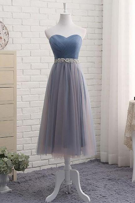 Cute A Line Sweetheart Tulle Blue Strapless Beads Prom Dress Bridesmaid Dresses