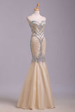 Mermaid Rhinestone Sweetheart Tulle Sleeveless Floor Length Prom Dresses Evening Dress