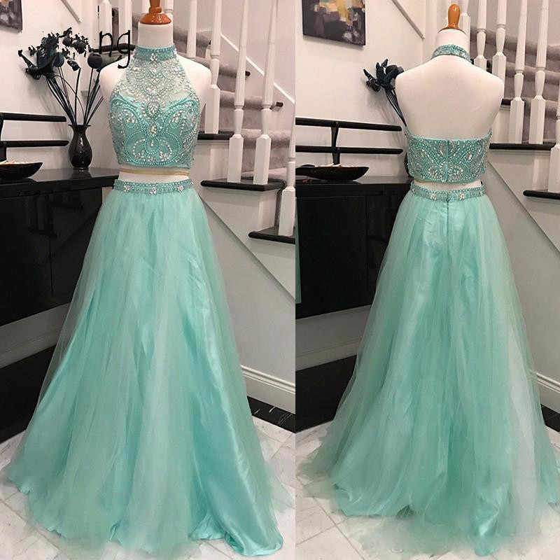 Elegant Halter Two Pieces Sky Blue Backless Tulle Prom Dresses with Beading