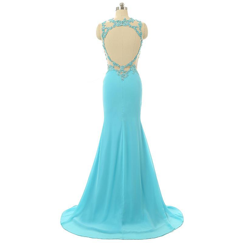 Mint Sheer Back Scoop Chiffon Mermaid Prom Dresses Sleeveless Prom Dresses