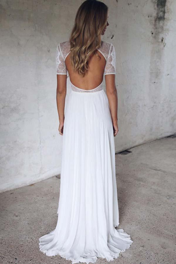 Half Sleeve Ivory Lace Illusion Beach Wedding Dresses with Chiffon Open Back Wedding Gowns