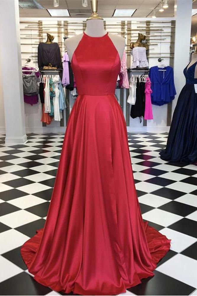 Halter Open Back A Line Red Sleeveless Prom Dresses Long Cheap Evening Dresses