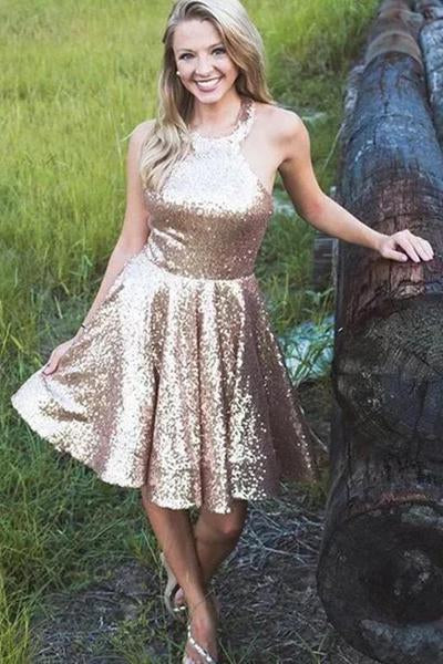 Halter Sequin A Line Backless Short Homecoming Dresses Simple Prom Gowns