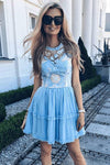Jewel Short Blue Chiffon Homecoming Party Dress with Lace Straps Appliques Prom Dress