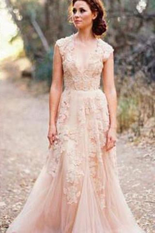Long Tulle Vintage Romantic Unique Cap Sleeve Pink A-Line Appliques Wedding Dresses