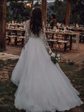 Light Pink See Through Long Sleeve Boho Wedding Dresses Lace Applique Bridal Dress