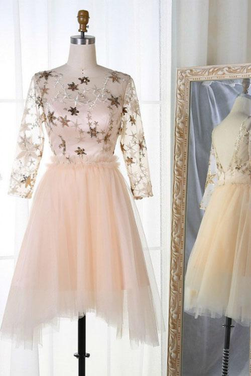 Long Sleeve Tulle Pink Homecoming Dresses with Lace V Neck Short Cocktail Dresses