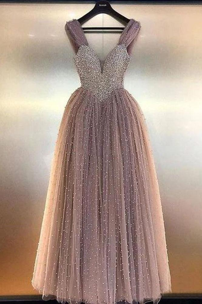 Luxurious A Line V Neck Backless Blush Tulle Long Prom Dresses with Straps Beading