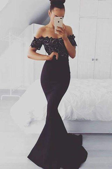 Mermaid Off the Shoulder Satin Black Short Sleeve Sweep Train Lace Prom Dresses