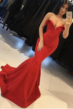 Mermaid Red V Neck Strapless Prom Dresses Long Cheap Satin Party Dresses