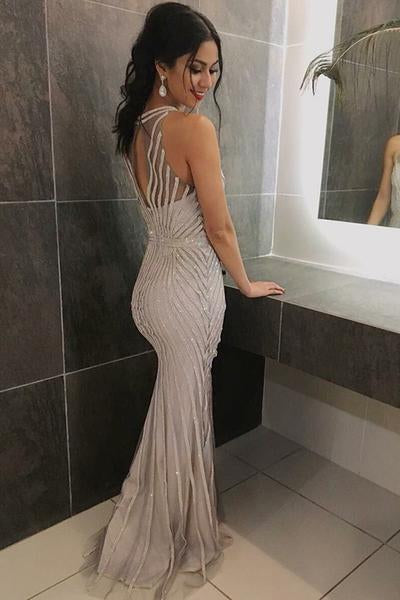 Mermaid Round Neck Sleeveless Open Back Tulle Long Prom Dresses with Beading