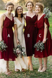 Mismatched Burgundy Chiffon Knee Length Bridesmaid Dresses V Neck Prom Dresses