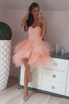 Peach Pink Strapless Sweetheart Homecoming Dresses Beaded Tulle Formal Dresses