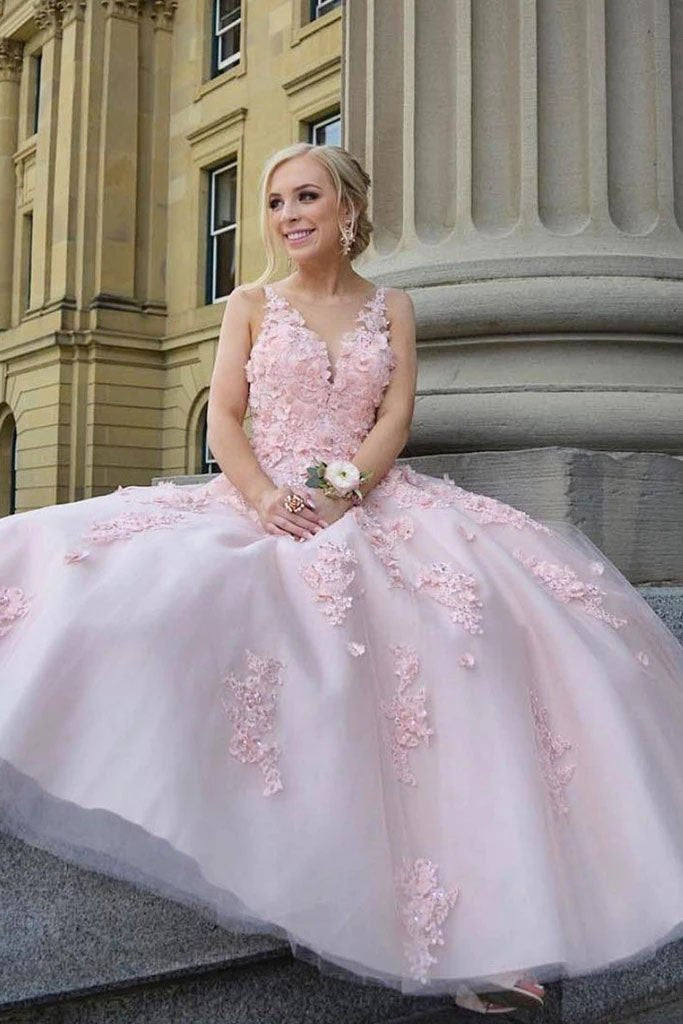 Pink Scoop Lace Appliques Prom Dresses with Tulle Open Back Beads Formal Dresses