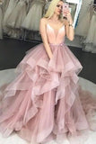 Pink Tulle Spaghetti Straps Ruffles Ball Gown Prom Dresses V Neck Long Evening Dresses