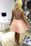 Pink Tulle V Neck Homecoming Dresses with Lace Short Straps Cocktail Party Dresses