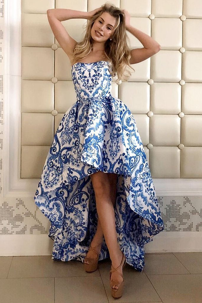 Princess A Line Strapless High Low Blue Homecoming Dresses Print Long Party Dress