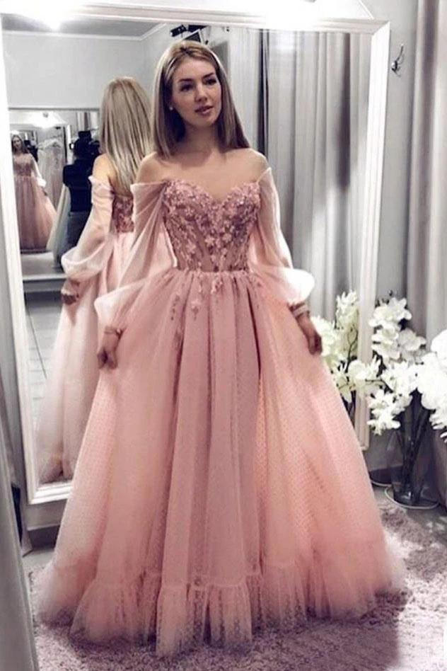 Princess Ball Gown Blush Pink Lace Off the Shoulder Prom Dresses With Long Sleeves