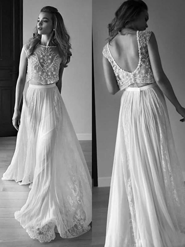 Princess Sleeveless Scoop Chiffon Beads Two Piece Wedding Dresses with Open Back