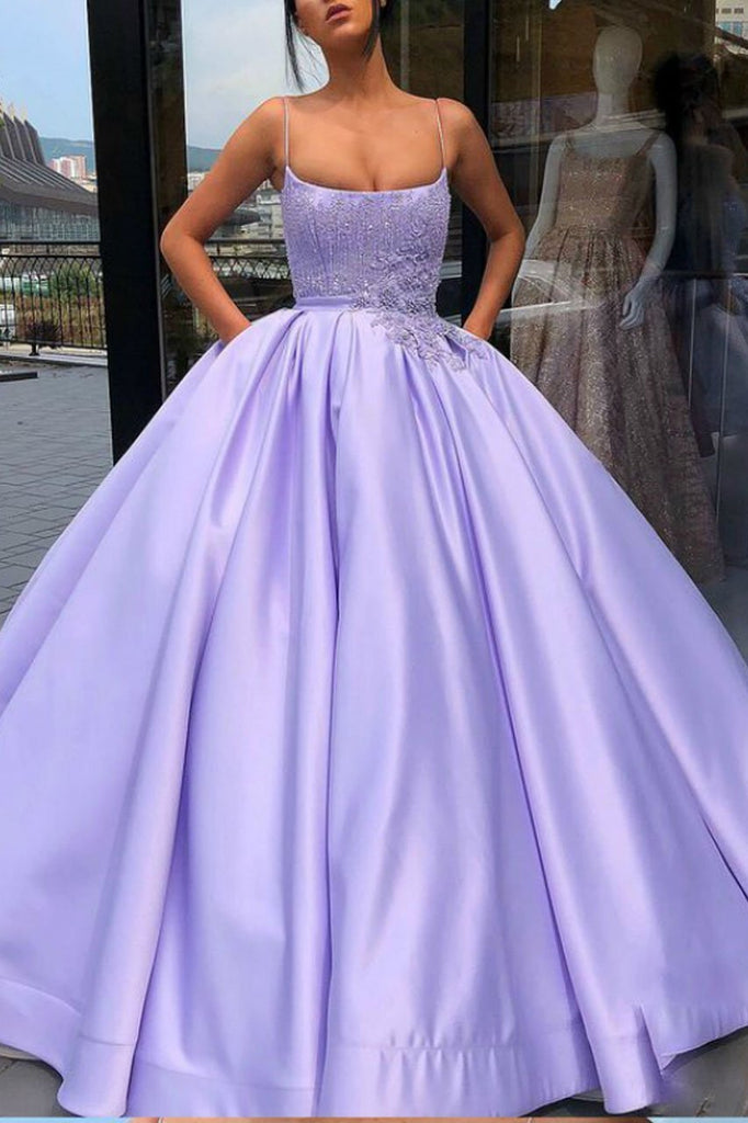 Purple Ball Gown Spaghetti Straps Satin Sweet 16 Dress With Pocket Quinceanera Dress