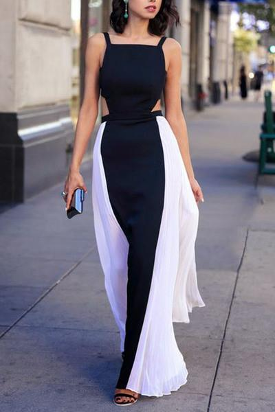 Elegant black & white chiffon long prom dresses summer dress with