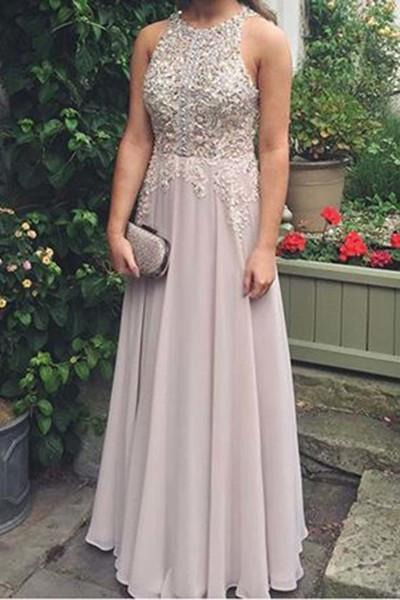 Elegant chiffon lace round neck sequins evening dresses long prom