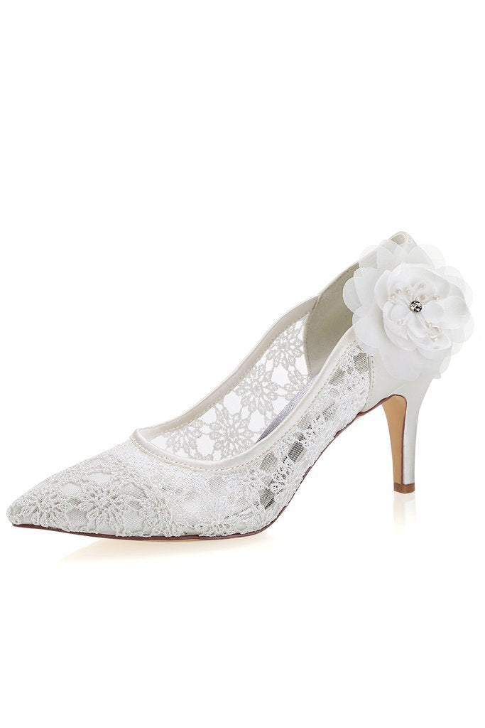 Ivory High Heels Lace Wedding Shoes with Flowers Wedding Party Shoes Wedding Shoes