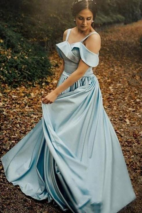 Satin Light Blue Prom Gowns with Folded Neckline Sweetheart Long Prom Dresses
