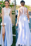 See Through Side Slit Pale Blue Lace Chiffon Scoop Party Dresses Prom Dresses