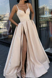 Sexy A line High Slit V Neck Spaghetti Straps Prom Dress Pockets Satin Formal Dress