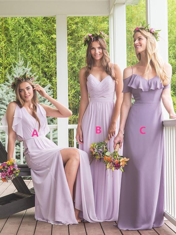 Elegant A Line Maxi Chiffon Long Mismatched Modest Purple Bridesmaid Dresses