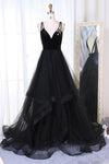 New Arrival A-Line V-Neck Black Velvet Up Tulle Backless Sleeveless Long Prom Dresses