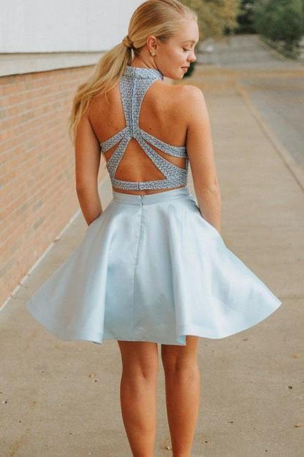 Cute Two Piece High Neck Pockets Satin Short Light Blue Beaded Homecoming Dresses